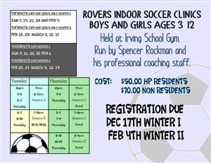 Winter Rovers Soccer Clinics Now Open!!